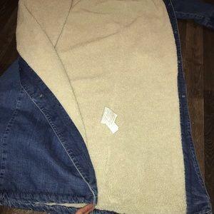 f8d169a1 Zara Jackets & Coats - ZARA TRF DENIM LONG LINE SHERPA JACKET SHERLING